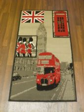 Modern Approx 4x2 60cm x 110cm Novelty London Bus New Rugs Woven Backed Nice